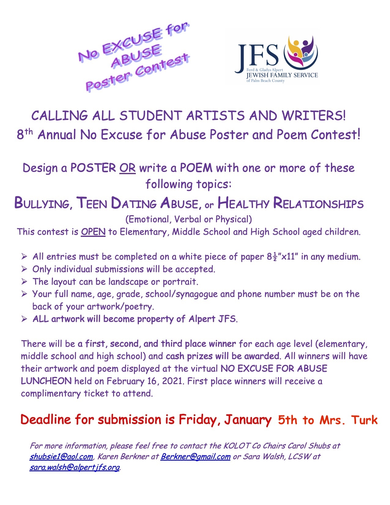 no excuse for abuse contest flyer
